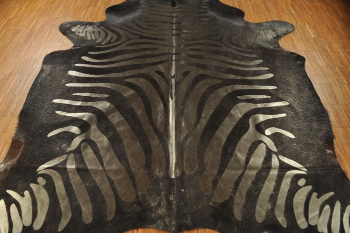 Cow hide Zebra print black silver