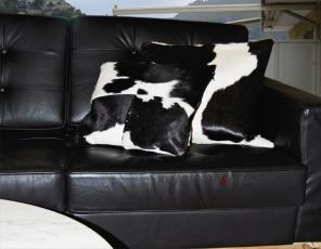 Cow hide pillow