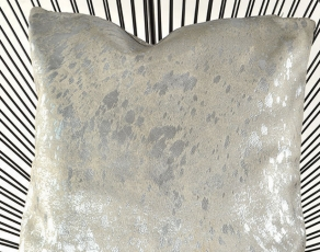 Pillow Cow hide Silver