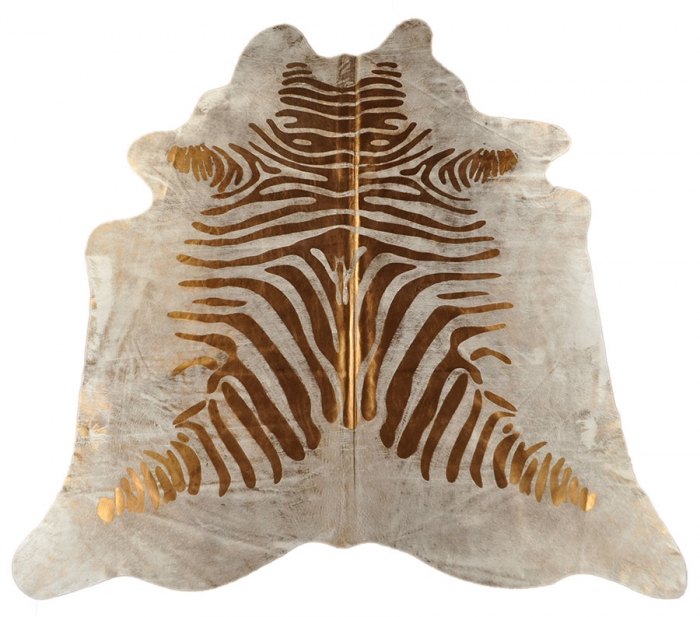 Zebra Gold Metalic cow hide