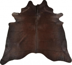 Calf hide carpet Crocodile style brown